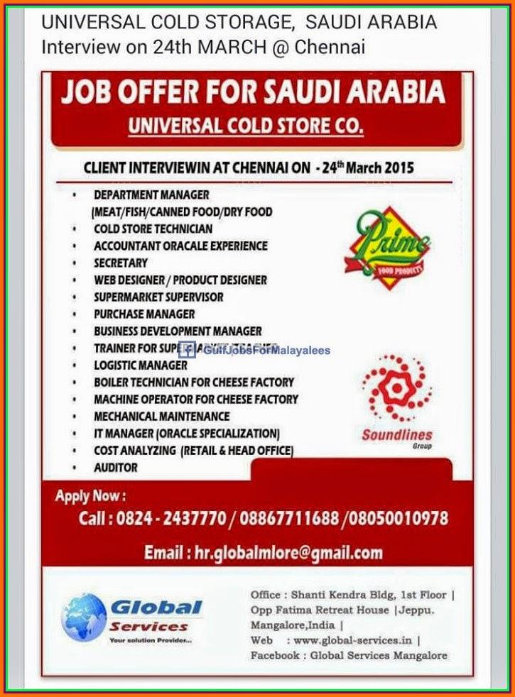 Universal Cold Storage Large Job Vacancies For Ksa Gulf
