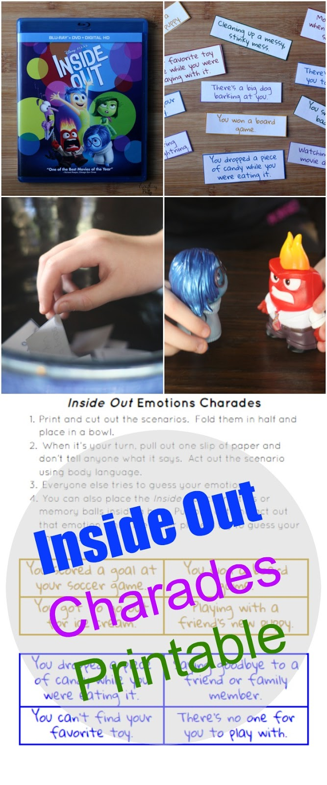 Teaching emotions to children with autism with Inside Out charades.  Includes a free printable.