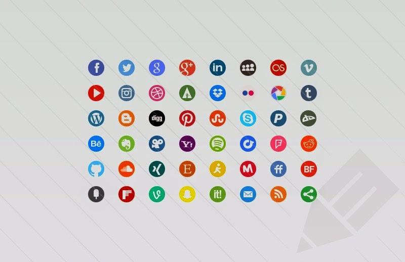 48 Round Social Media Icons