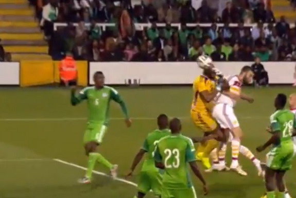 Nigeria goalkeeper Austin Ejide suspiciously throws the ball into his own net