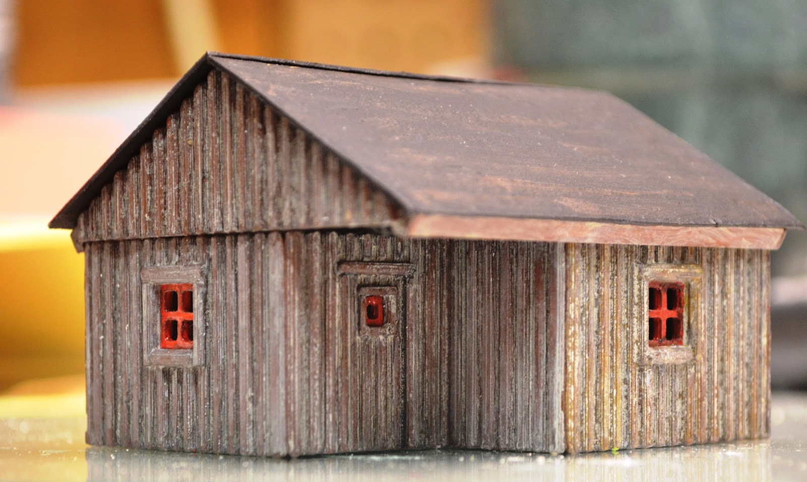 Nirvana valley model railroad slab siding cabin update for Log slab siding