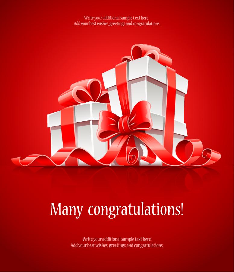 お洒落なリボン飾りのプレゼント箱 beautiful gift box vector イラスト素材6