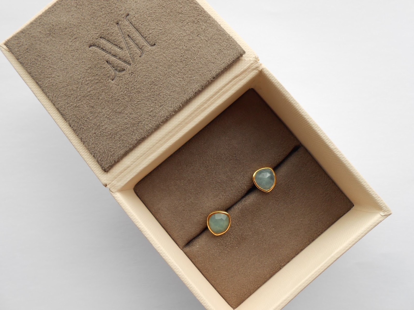 Monica Vinader Siren Stud Earrings in Aquamarine