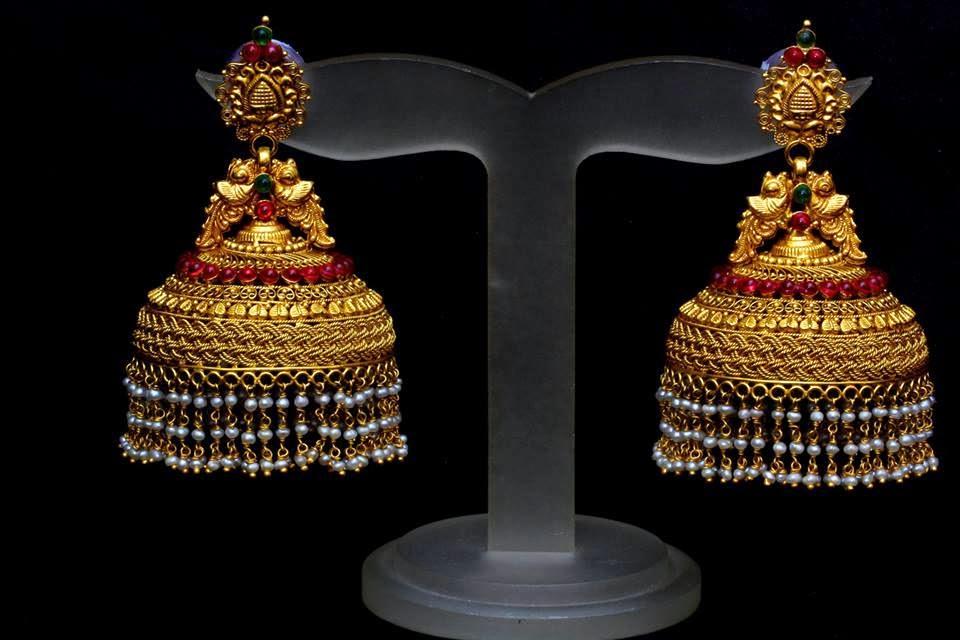Indian Jewellery Designs: Temple jhumkas design