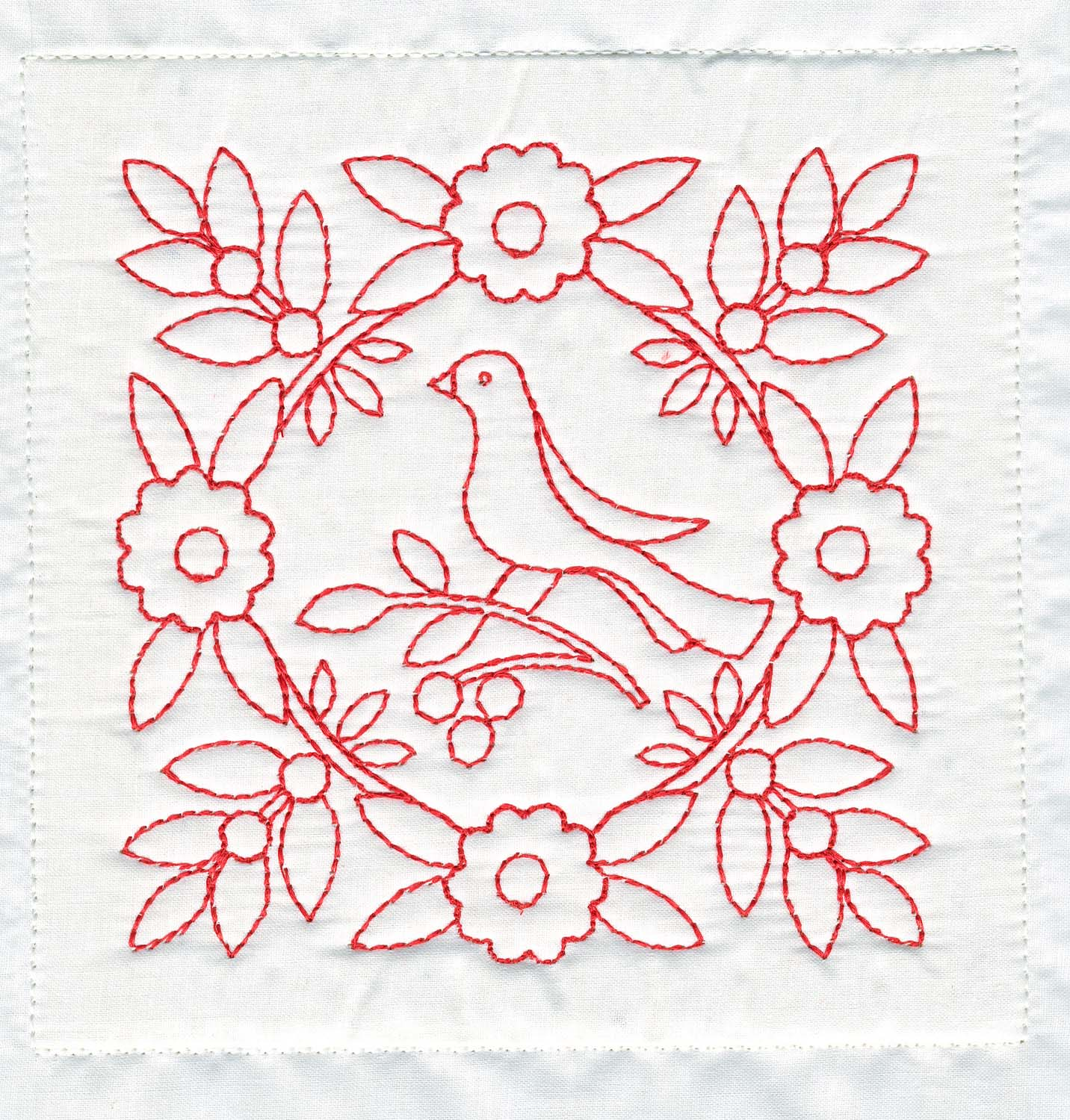 TreasuresnTextures Redwork Quilt Block