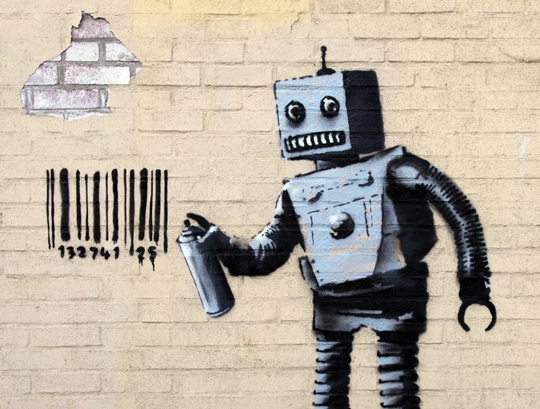 banksy tagging robot new street piece coney island. Black Bedroom Furniture Sets. Home Design Ideas