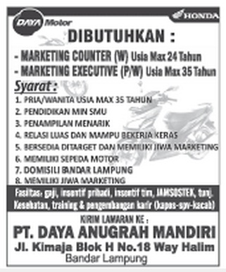 Karir Lampung PT. Daya Anugrah Mandiri