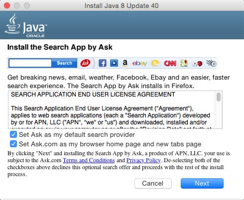 Apple OS X Instala Java y de regalo llévate adware