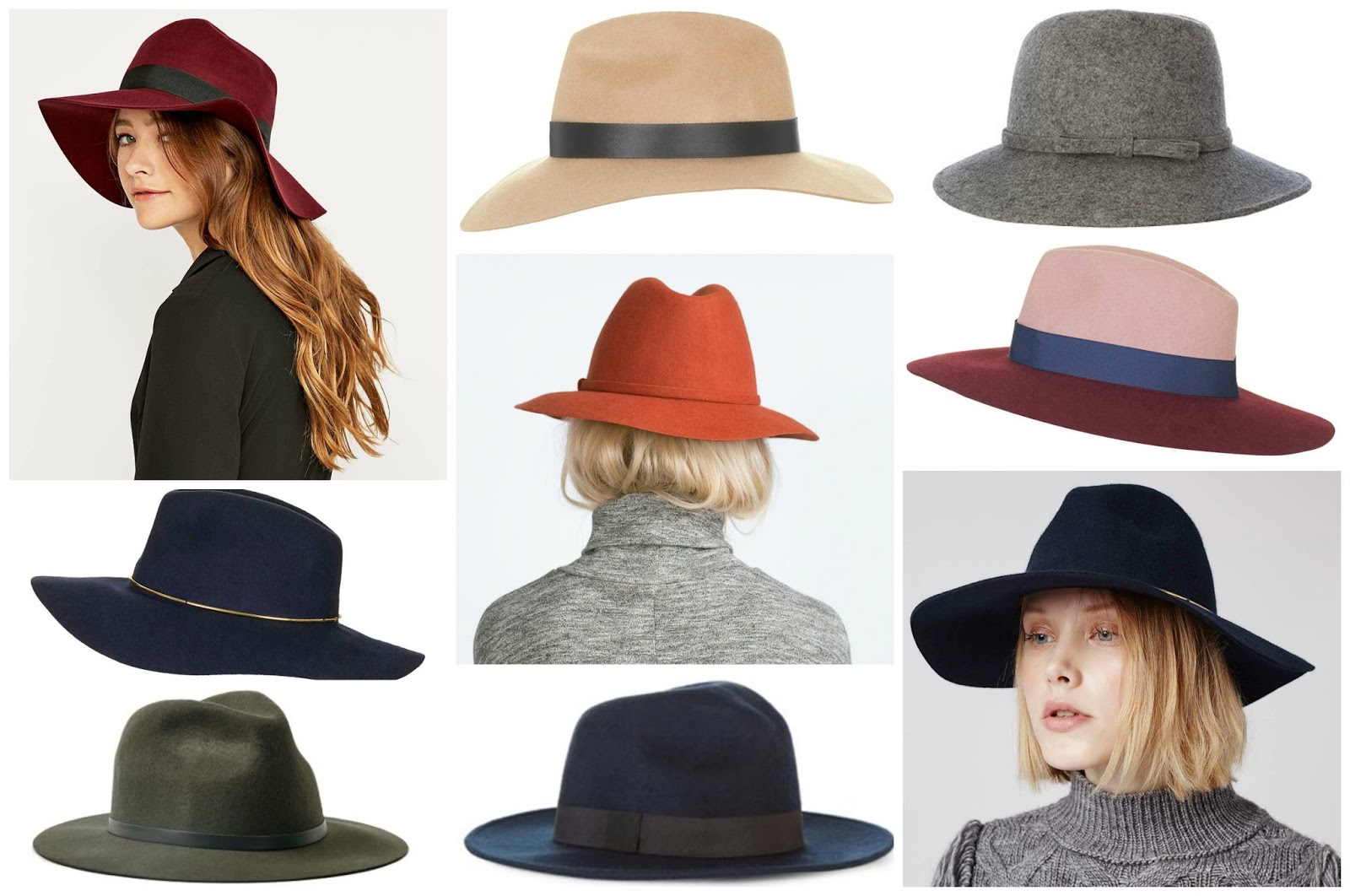 Clockwise from left  Wide Brim Kathy Fedora 61d8029e41e
