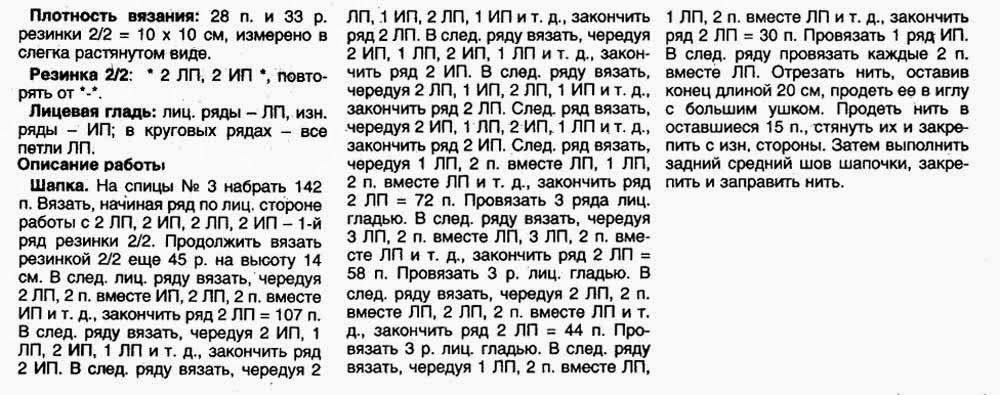 Вязание мужских шапок круговыми спицами 437