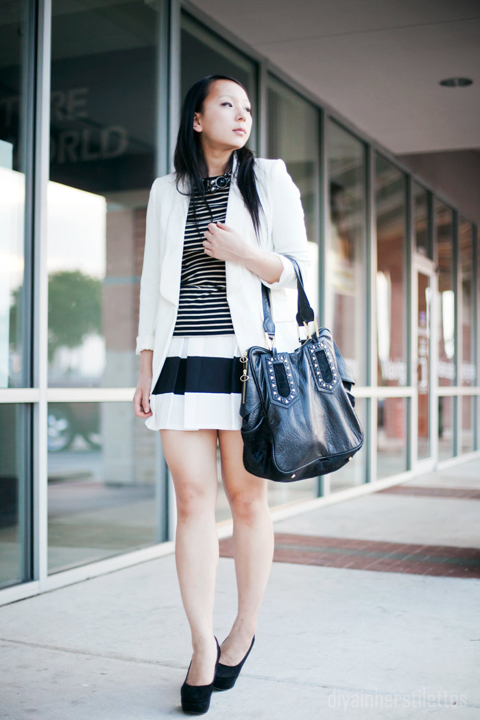 lulus contrast striped skirt, zara basic striped tee shirt, forever 21 white basic blazer, austin fashion blog, texas style blog, diya liu, monochromatic fashion, summer 2012