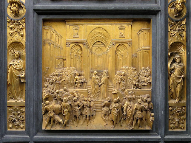 Solomon and the Queen of Sheba, copy of the original bronze panel of the Gates of Paradise by Lorenzo Ghiberti, Baptistry of Saint John, Florence