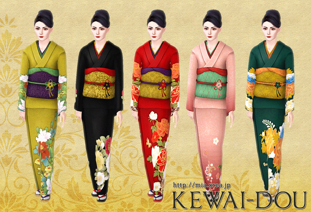 My Sims 3 Blog Japanese Kimono Set For Females By Kewai Dou