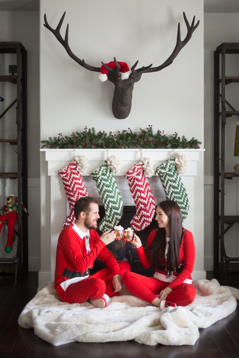 His and Her Santa Pajama Outfits