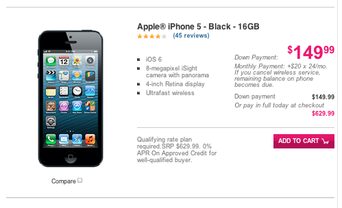 iPhone 5, T-Mobile, iPhone 5 price