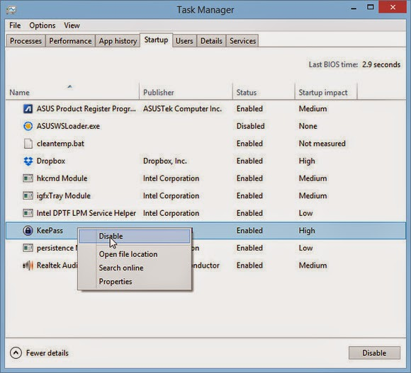 How to stop the automatic loading programs in Windows 8