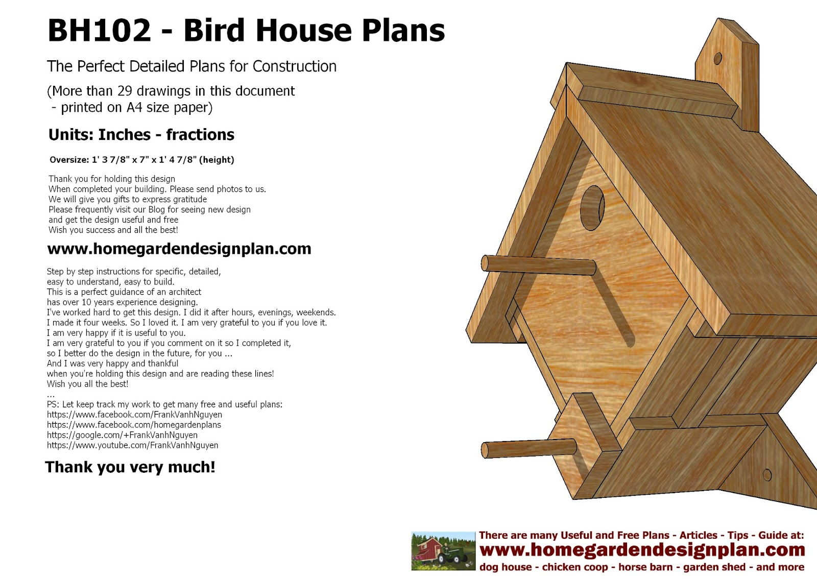 for chick coop home garden plans BH102 Bird House Plans