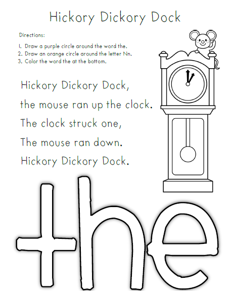 lastly for jack be nimble i created a color by sight word activity wallpaper view and print the hickory dickory dock
