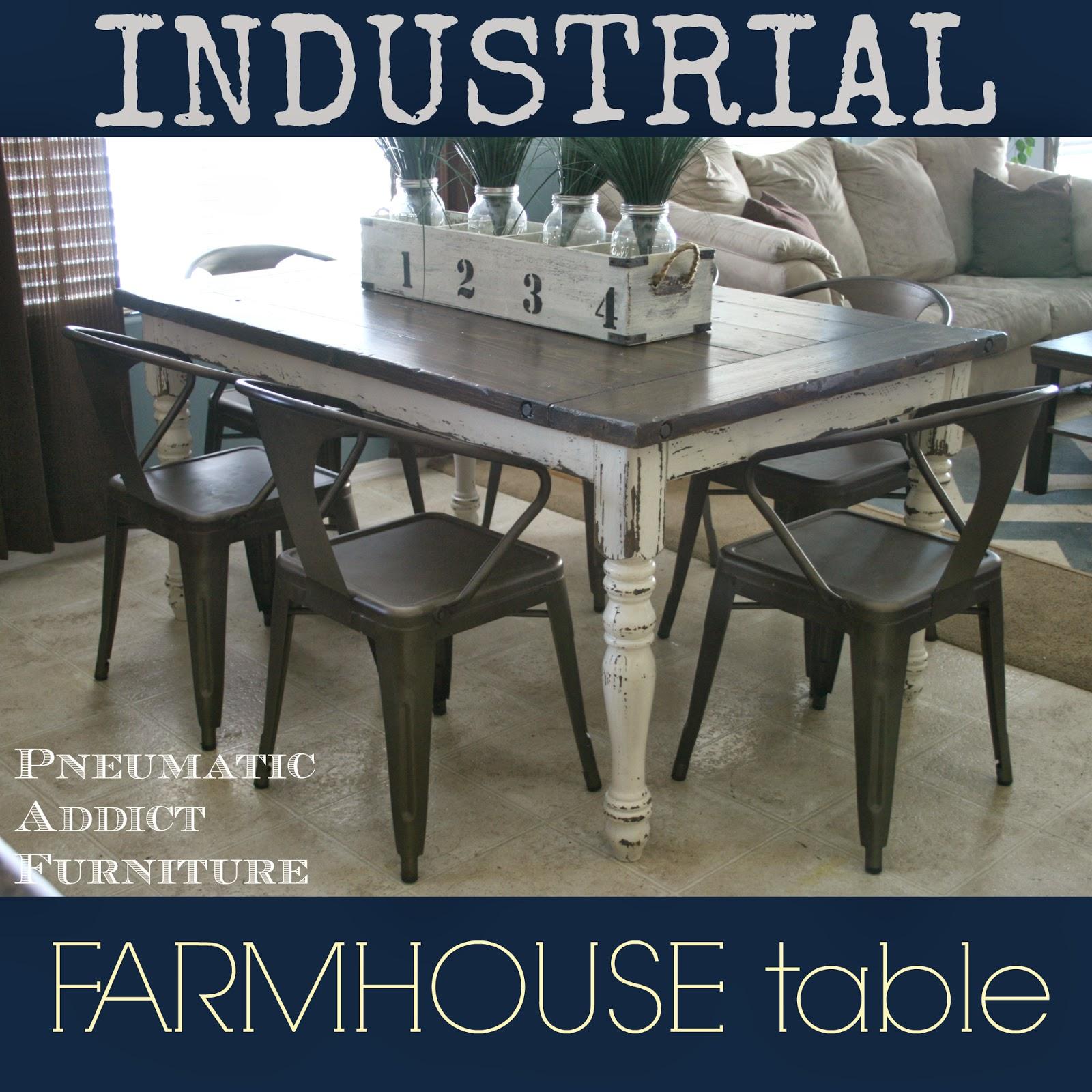 Industrial Farmhouse Table Pneumatic Addict