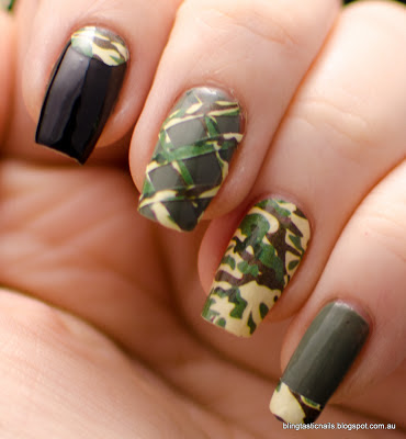 OMG Nail Polish Strips Camouflage manicure