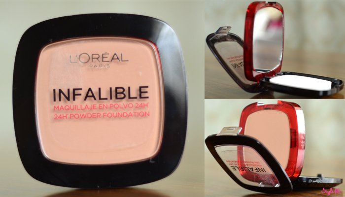 The L'Oreal Paris Infallible Stay Fresh 24 HR powder foundation comes in a sturdy plastic case with a transparent top and a second compartment beneath the pressed powder for a sponge and mirror