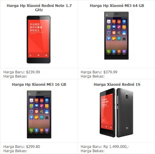 List Harga Terbaru HP Xiaomi Android 2016