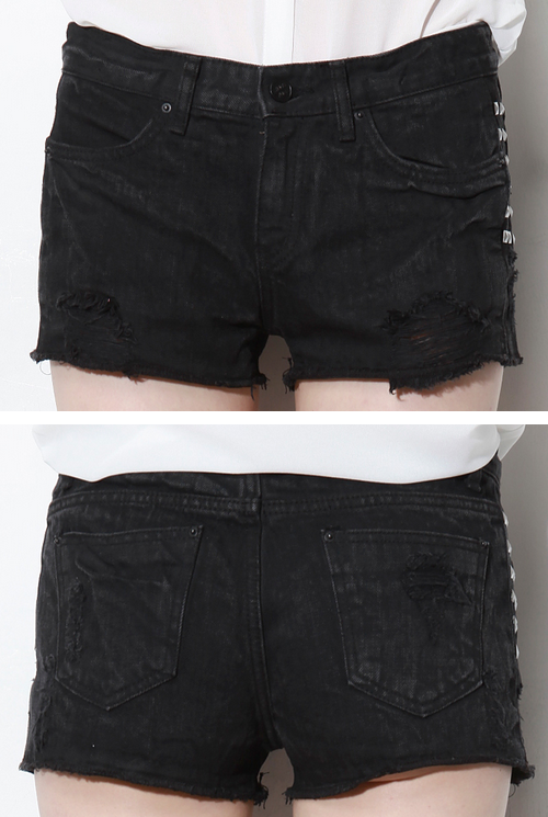 Studded Black Denim Cutoff Shorts
