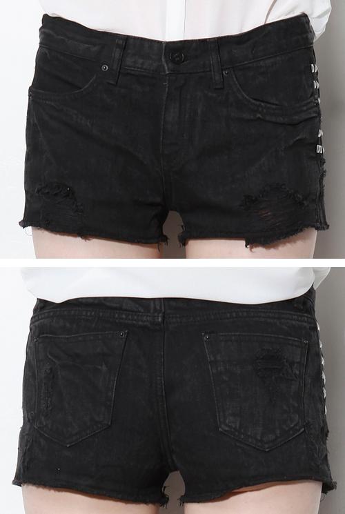 Studded Black Denim Cutoff Shorts