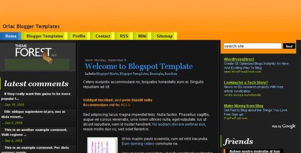 Orlac Premium Blogger Template
