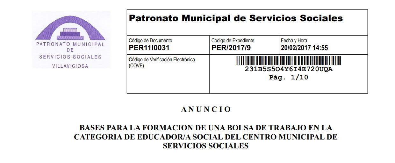 BOLSA DE TRABAJO PARA EDUCADORA SOCIAL
