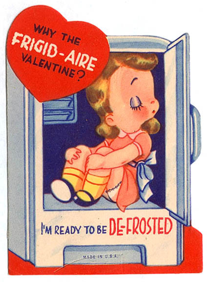 what sort of insane person creates cards for kids to pass out which show other kids inside of refrigerators - Adult Valentine Cards