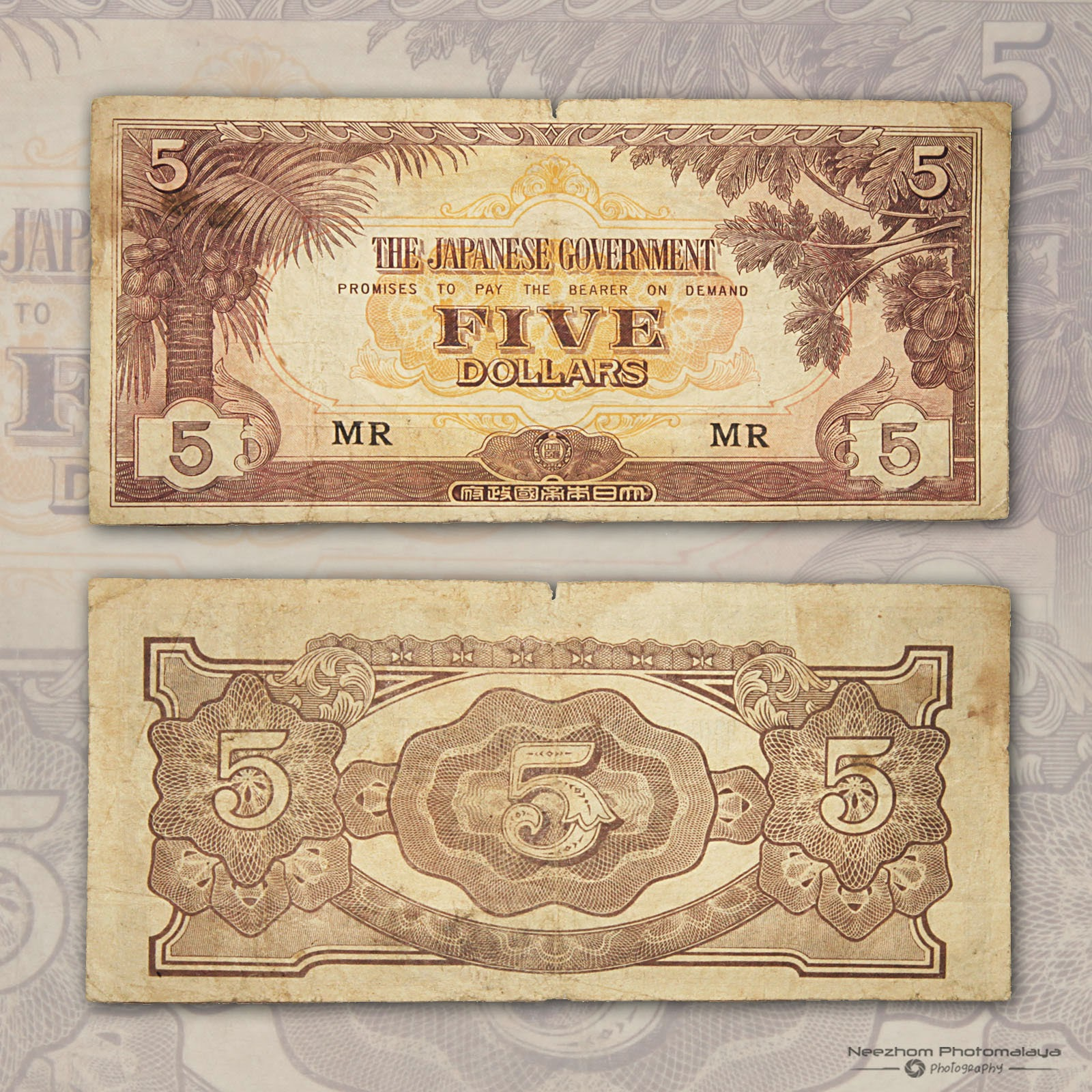 Malaya 5 Dollars Japanese Occupation
