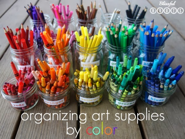 Organizing Art Supplies By Color from Blissful Roots