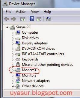 cari di bagian modem atau network adapters