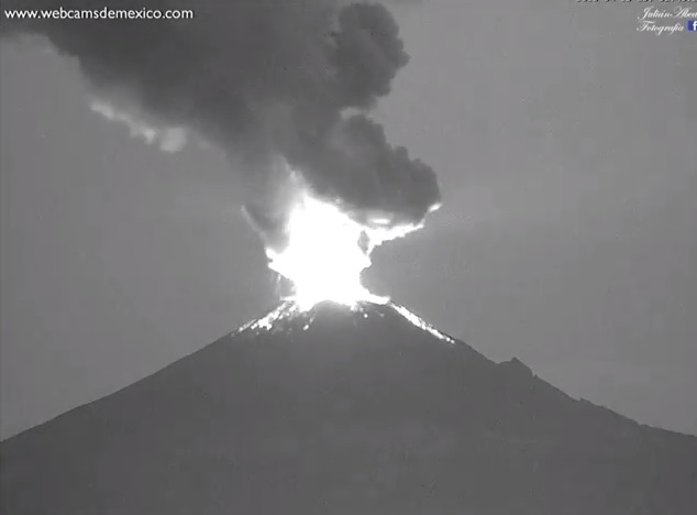 Mexico's Popocatepetl volcano spews ash more than two miles above the crater