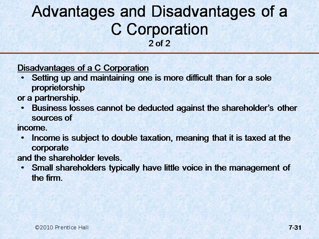 disadvantages of corporations Learn how comparing corporations to sole proprietorships and partnerships affects you in the incorporation guide at but there are also some disadvantages to consider.