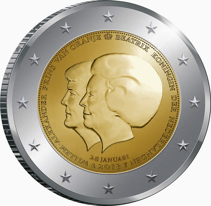 2 Euro Coins Double Portrait Netherlands 2013, abdication of the throne by Her Majesty Queen Beatrix