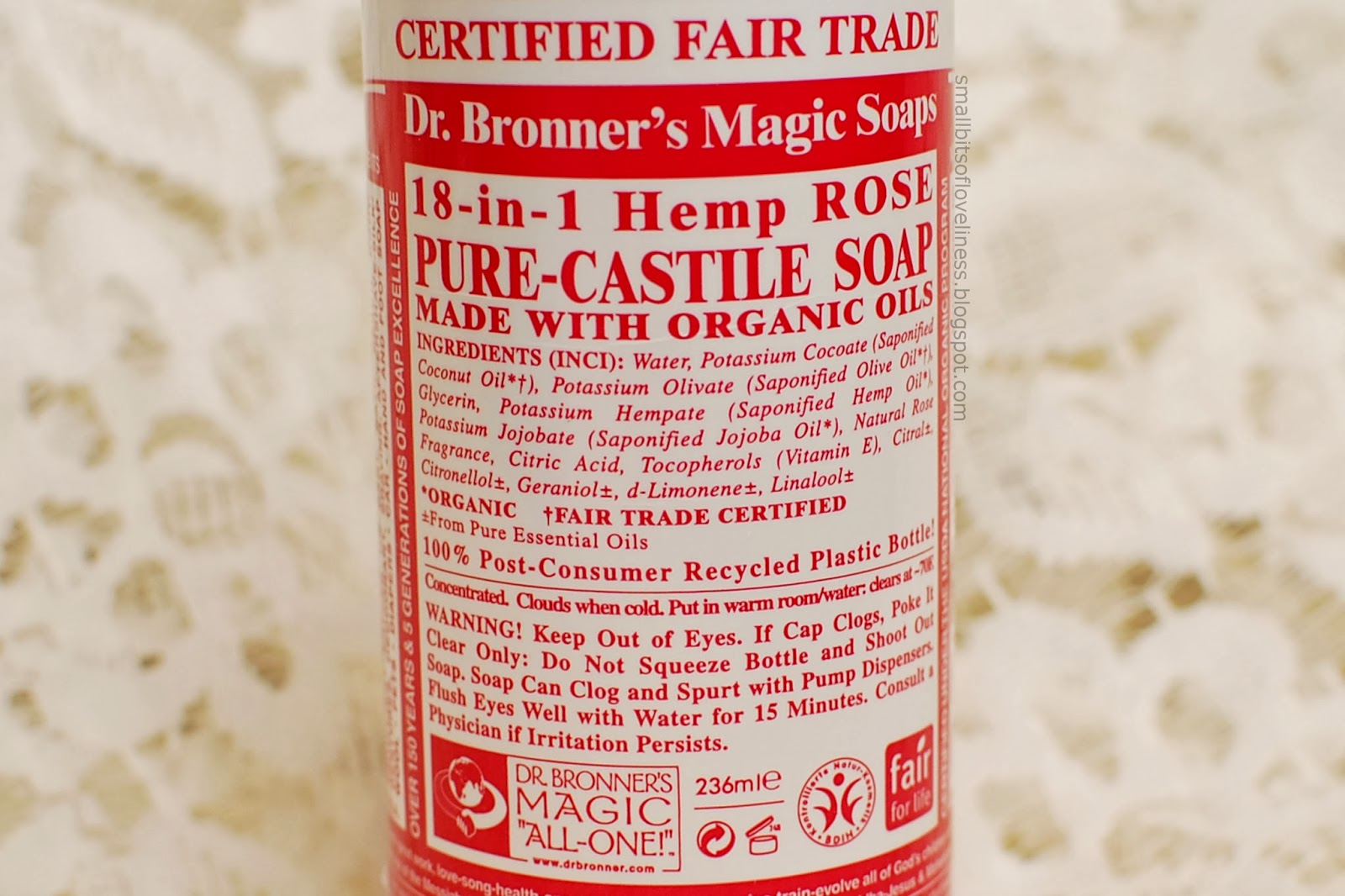 Dr. Bronner's Pure Castile Liquid Soap Rose ingredients