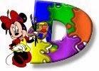 Alfabeto de Minnie Mouse pintando D.