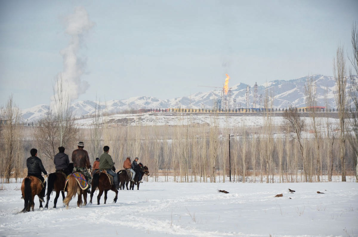 Villagers race horses as China Kingho Energy Group's coal gasification plant stands in the background, in Chuluqay, Xinjiang province. (Credit: Benjamin Haas/Bloomberg) Click to enlarge.