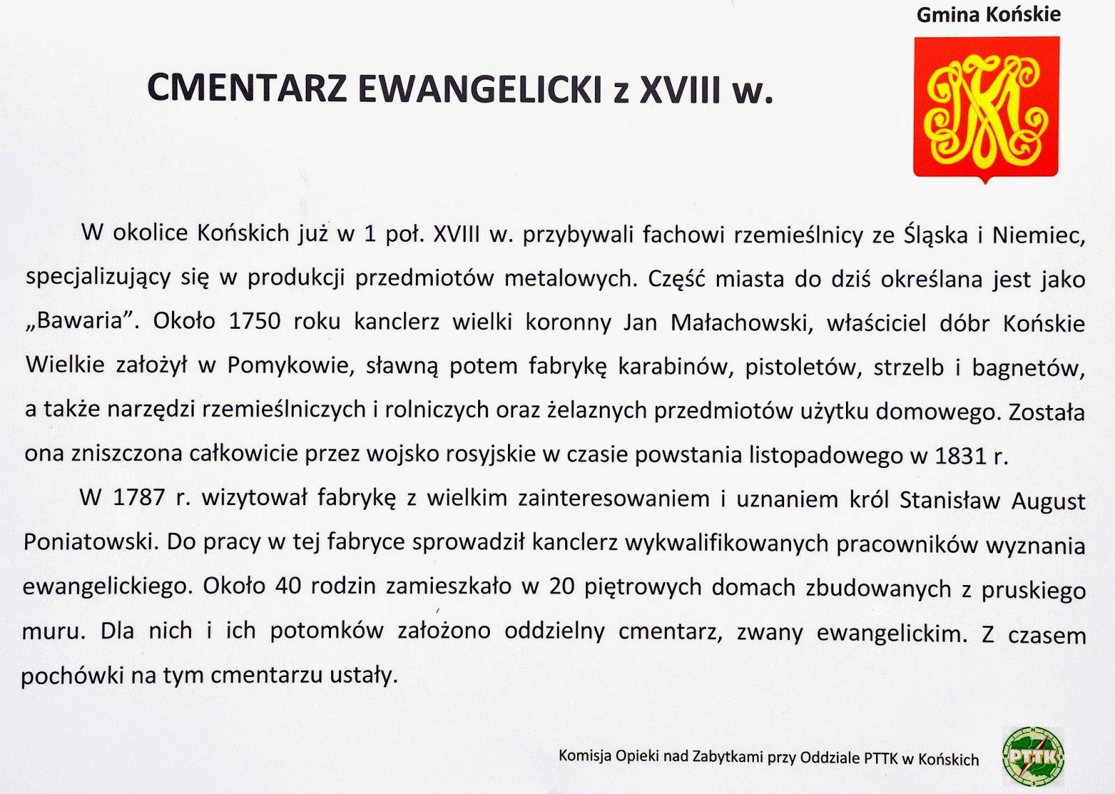 Pomyków k. Końskich, cmentarzyk osadników niemieckich z połowy XVIII wieku - lipiec 2014. Tablica informacyjna. Foto. Bartłomiej Woźniak.