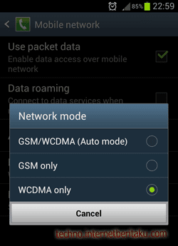 Setting Android WCDMA Only