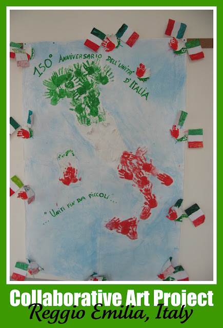 photo of: Reggio Emilia map of Italy from painted handprint images