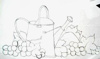 desenho de regador com uvas para pintar