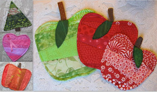 image Easy Christmas Bazaar Crafts- Quilted Mug Rugs Christmas Tree, Heart, Pumpkin, Apple
