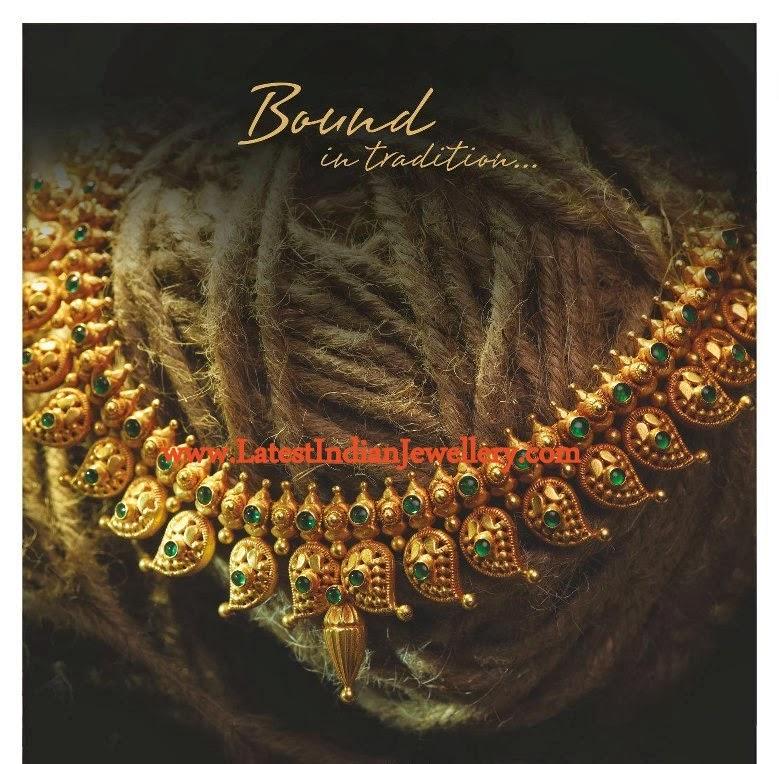 Traditional Antique Gold Necklace Antique Gold Mango Necklace