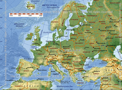 Physical Features Map Of Europe And Russia Thefreebiedepot - Europe physical map