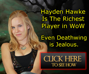 This is Hayden Hawke, standing wearing a sexy outside advertising her World of Warcraft Secret Gold Guide