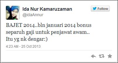 Bonus Separuh Bulan Gaji Januari 2014 & Jadual Pembayaran Gaji 2014
