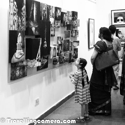 It was third day of the exhibition and overall response so far is amazing. Sunday was best day so far. Whole day was quite busy with some known personalities walking into the gallery and sharing their appreciation/feedback with individual artists. This Photo Journey shares some moments from the gallery which also includes photographs from the day when we setup the gallery for final show. Let's check out. Gallery was full of art lovers today and we loved interacting with folks from different walks of life.Here is a photograph when we were setting up the art-works in gallery on 7th March. It was one of the challenging thing to put photographs in best way, although we found some basic issues during inaugurationIt's lunch time. Canteen at Arpana Caur gallery is awesome. Mr. Mahavir cooks amazing food and I am loving each & every day at the gallery. Today was awesome day, when everyone of us had lunch together and had great fun. Mahavir had cooked Gatta-Curry for us. Thanks to Ravi for idea of having special lunch today with every ArtistSome of the friends turned up today and enjoyed the show. Friends are one of the main sources of motivation who push you to move forward in right direction. I feel great to have amazing friends around me. It was great to have Mr. Arvind Passey, Sangeeta Passey, Rakesh Lal, Alok Kumar Singh, Ashish Agrawal, Gunjeet Parmar, Prashant Srivastava, Karan Shekhawat, Fahad, Sanjay Das and Firoz at the exhibition today. It means a lot to come, see the work and share right feedback.Sunday was quite interesting when family members of some of the artists were at the gallery. All these moments bring lot of opportunities to mingle well with people around usHere is another photograph showing the art installation work and Ravi inspecting some finer details of installtion at gallery. Deciding on the display is one of the critical part and it can't be learned without actually doing it and failing in some aspects of it :) . On third day, I realized various 